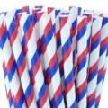 Red White Blue Striped Paper Straws