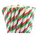 Christmas Striped Paper Straws
