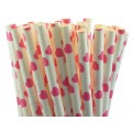 Pink Hearts Paper Straws